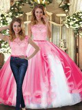 Scoop Sleeveless Clasp Handle Vestidos de Quinceanera Hot Pink Tulle