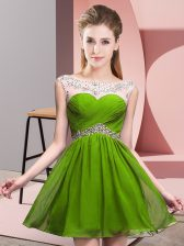 Sleeveless Mini Length Beading and Ruching Backless Prom Gown with Olive Green
