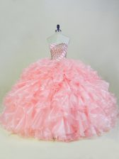 On Sale Peach Quinceanera Gown Organza Sleeveless Beading and Ruffles