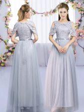 Smart Lace and Belt Quinceanera Court Dresses Grey Zipper Sleeveless Floor Length