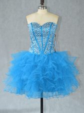 Elegant Sleeveless Organza Mini Length Lace Up Prom Gown in Aqua Blue with Beading and Ruffles