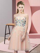 Popular Peach Sweetheart Neckline Appliques Vestidos de Damas Sleeveless Lace Up