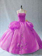 Modern Lilac Quinceanera Dresses Sweet 16 and Quinceanera with Appliques Straps Sleeveless Lace Up