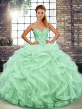 Customized Sweetheart Sleeveless Quince Ball Gowns Floor Length Beading and Ruffles Apple Green Tulle