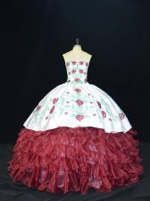 Floor Length Burgundy Quinceanera Dresses Sweetheart Sleeveless Lace Up