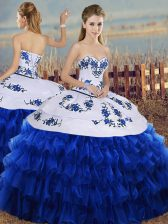 Royal Blue Ball Gowns Sweetheart Sleeveless Organza Floor Length Lace Up Embroidery and Ruffled Layers Sweet 16 Quinceanera Dress