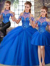 Dramatic Blue 15th Birthday Dress Halter Top Sleeveless Brush Train Lace Up