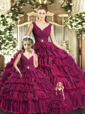Luxurious Burgundy Sleeveless Floor Length Ruffled Layers Backless Ball Gown Prom Dress