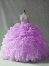 Strapless Sleeveless Brush Train Lace Up Ball Gown Prom Dress Lilac Organza