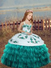 Ball Gowns Little Girls Pageant Dress Wholesale Teal Straps Organza Sleeveless Floor Length Lace Up