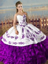 Noble White And Purple Organza Lace Up 15th Birthday Dress Sleeveless Floor Length Embroidery and Ruffles