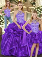 Adorable Purple Sleeveless Floor Length Beading and Ruffles Lace Up Quinceanera Dresses