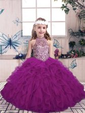 Floor Length Purple Little Girl Pageant Gowns Tulle Sleeveless Beading and Ruffles