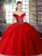 Lace Up Quince Ball Gowns Red for Military Ball and Sweet 16 and Quinceanera with Beading and Pick Ups Brush Train