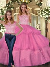 Two Pieces Quince Ball Gowns Hot Pink Scoop Tulle Sleeveless Floor Length Lace Up