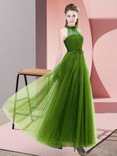 Floor Length Olive Green Vestidos de Damas Halter Top Sleeveless Lace Up
