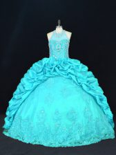 Elegant Aqua Blue Taffeta Lace Up Halter Top Sleeveless Floor Length Quinceanera Gown Beading and Appliques and Embroidery and Pick Ups