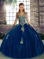 Royal Blue Sleeveless Floor Length Beading and Appliques Lace Up Quince Ball Gowns