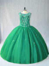 Artistic Floor Length Green Sweet 16 Dresses Tulle Sleeveless Beading