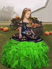 Popular Floor Length Pageant Gowns For Girls Straps Sleeveless Lace Up