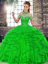 Green Ball Gowns Beading and Ruffles Sweet 16 Quinceanera Dress Lace Up Tulle Sleeveless Floor Length