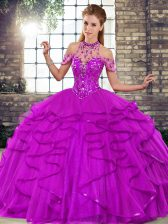 Sleeveless Floor Length Beading and Ruffles Lace Up Quinceanera Dresses with Purple