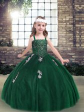 Dark Green Straps Neckline Appliques Little Girls Pageant Dress Wholesale Sleeveless Lace Up