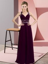 Fitting Chiffon Sleeveless Floor Length Prom Evening Gown and Beading