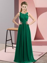 Artistic Chiffon Scoop Sleeveless Zipper Beading and Appliques Quinceanera Court of Honor Dress in Peacock Green