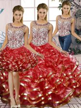 Captivating Red Sleeveless Organza Lace Up Sweet 16 Quinceanera Dress for Military Ball and Sweet 16 and Quinceanera