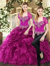 Fuchsia Two Pieces Sweetheart Sleeveless Organza Floor Length Lace Up Beading and Ruffles and Pick Ups Ball Gown Prom Dress