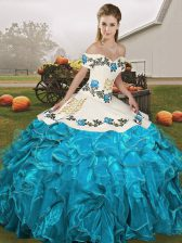 Customized Off The Shoulder Sleeveless Organza Quinceanera Gowns Embroidery and Ruffles Lace Up