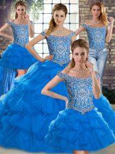 Romantic Blue Off The Shoulder Neckline Beading and Pick Ups Vestidos de Quinceanera Sleeveless Lace Up
