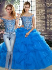 Fancy Brush Train Two Pieces Quinceanera Dress Blue Off The Shoulder Tulle Sleeveless Lace Up