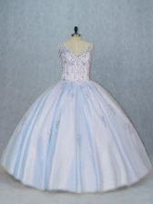 Classical V-neck Sleeveless Tulle Quinceanera Gowns Beading Side Zipper