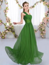 Ruching Court Dresses for Sweet 16 Green Lace Up Sleeveless Floor Length