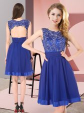 Romantic Sleeveless Mini Length Beading and Appliques Backless Dama Dress with Royal Blue