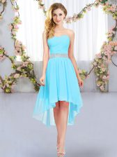 High Low Empire Sleeveless Aqua Blue Quinceanera Dama Dress Lace Up
