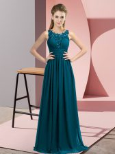 Sleeveless Floor Length Beading and Appliques Zipper Quinceanera Dama Dress with Teal