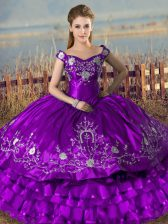 Charming Purple Ball Gowns Satin and Organza Off The Shoulder Sleeveless Embroidery and Ruffled Layers Floor Length Lace Up Ball Gown Prom Dress