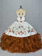Organza Sweetheart Sleeveless Lace Up Embroidery and Ruffles Quinceanera Gowns in Brown