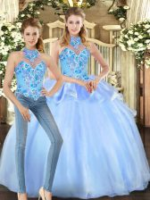 Fashionable Sleeveless Floor Length Embroidery Lace Up 15th Birthday Dress with Blue