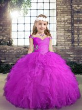 Simple Tulle Sleeveless Floor Length Pageant Dress for Womens and Beading and Ruffles