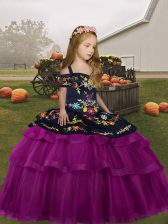 Tulle Long Sleeves Floor Length Pageant Dress for Womens and Embroidery