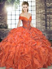 Enchanting Floor Length Lace Up Quince Ball Gowns Orange Red for Military Ball and Sweet 16 and Quinceanera with Beading and Ruffles