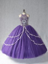 Purple Vestidos de Quinceanera Sweet 16 and Quinceanera with Beading Halter Top Sleeveless Lace Up