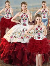 Spectacular Halter Top Sleeveless Quinceanera Dress Floor Length Embroidery and Ruffles White And Red Organza