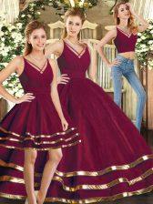 Burgundy V-neck Neckline Ruffled Layers Sweet 16 Dress Sleeveless Backless
