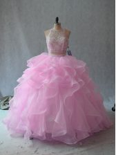 Pink Two Pieces Organza Scoop Sleeveless Beading and Ruffles Floor Length Backless Quinceanera Gown