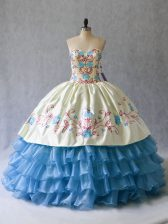 Trendy Ball Gowns Quinceanera Dress Blue And White Sweetheart Satin and Organza Sleeveless Floor Length Lace Up
